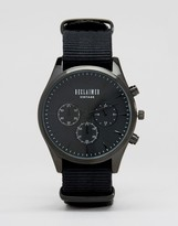 Reclaimed Vintage Chronograph Canvas Watch In Black