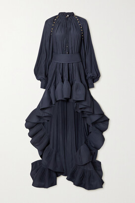 LANVIN - Belted Asymmetric Ruffled Crepe Gown - Blue
