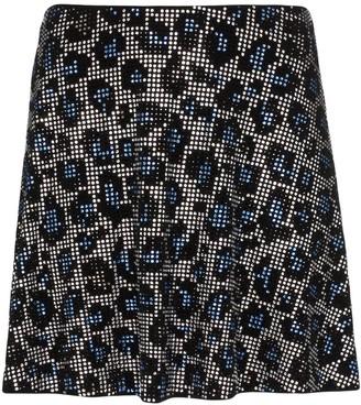 Adam Selman Sport Embellished Leopard Print Skirt