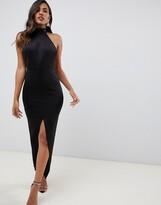 Asos Design DESIGN halter maxi dress with split detail