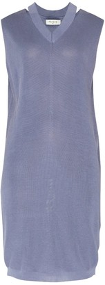 Paisie V-Neck Sleeveless Dress With Cut Out Neck In Blue