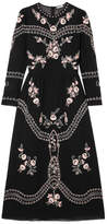 Vilshenko Darcel Embroidered Cotton-voile Midi Dress - Black