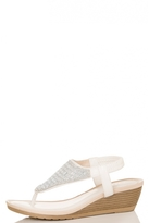 Quiz White PU Diamante Wedged Sandals