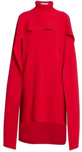 Givenchy Turtleneck Knit High-Low Cape Dress