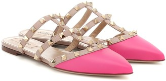 Valentino Rockstud leather slippers