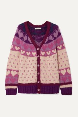 LoveShackFancy Deena Intarsia-knit Cardigan - Blush
