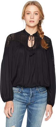 Lucky Brand Women's Lace Mix Peasant Top