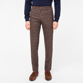 Paul Smith Men's Slim-Fit Navy And Brown Check Wool-Silk Trousers