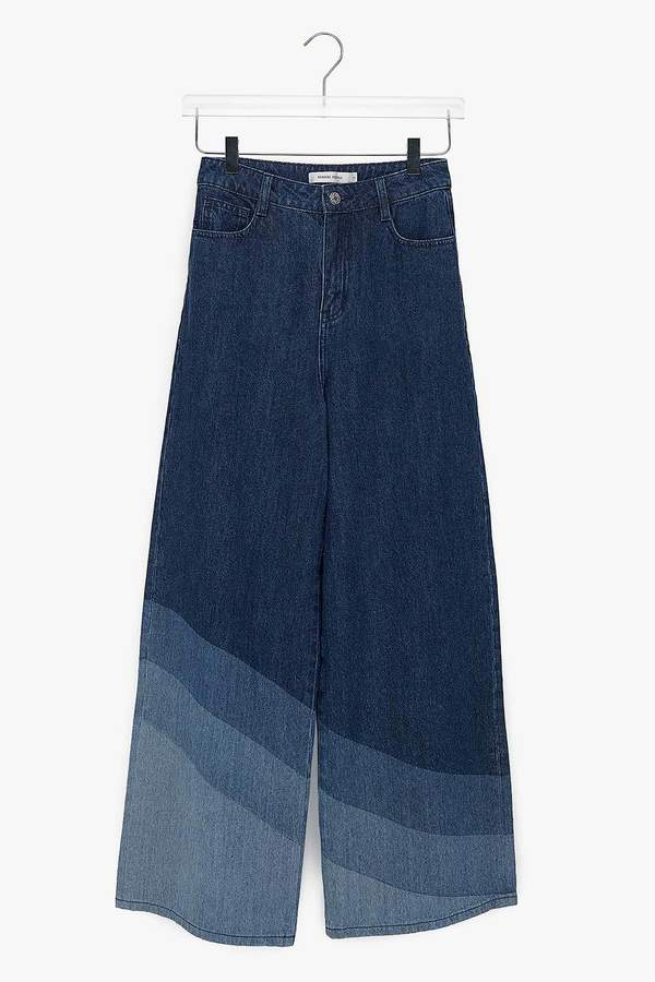 Genuine People Wide Leg Rinsed Cotton Wave Jeans