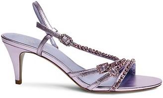 Kate Spade Makenna Embellished Metallic Leather Slingback Sandals