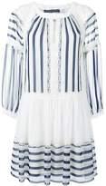Alberta Ferretti lace trim striped flared dress