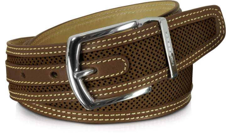 Moreschi St.Barth Brown Perforated Nubuck and Leather Belt