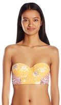 Billabong Women's Festival Floral Bustier Yellow Bikini Top