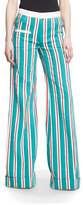 Rosie Assoulin Ribbon-Striped B-Boy Pants, Green Blue