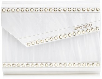 Jimmy Choo CANDY Pearlised Acrylic Clutch Bag with Pearl Studs