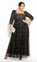 City Chic Pleated Lace Maxi Dress - black