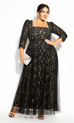 City Chic Pleated Lace Maxi Dress - black