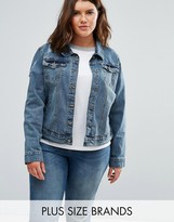 Brave Soul Plus Denim Jacket With Distressed Details