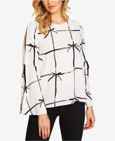CeCe Printed Bell-Sleeve Blouse