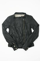 Garth Lambskin Leather Motorcycle Jacket in Black