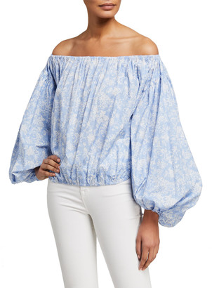 Caroline Constas Andros Off-the-Shoulder Balloon-Sleeve Crop Top