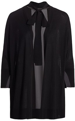 Lafayette 148 New York, Plus Size Tieneck Merino Wool & Silk Cardigan Sweater