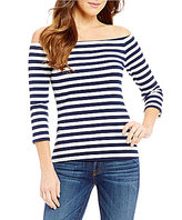 GUESS Gibson Striped Off-The-Shoulder Knit Top