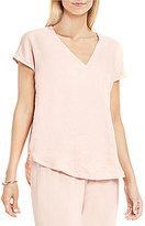 Vince Camuto Two by Extended Sleeve Relaxed V-Neck Linen Blouse