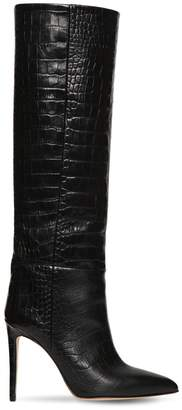 Paris Texas 110MM TALL CROC EMBOSSED LEATHER BOOTS