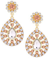GUESS Gold-Tone Pink & Clear Crystal Drop Earrings