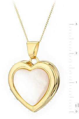 Mother of Pearl 9ct Yellow Gold White Heart Locket Pendant on 18 Inch Curb Chain