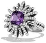 David Yurman Starburst Ring With Diamonds And Amethyst In Silver, 23Mm