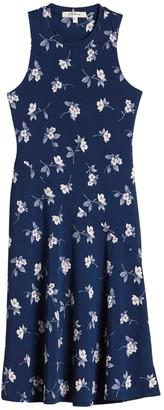 Rowa Sleeveless Biased Floral Print Midi Dress