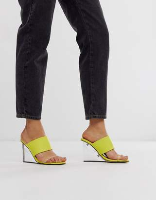Truffle Collection clear mule wedge heeled sandals-Yellow