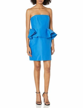 Halston Women's Strapless Dress with Peplum