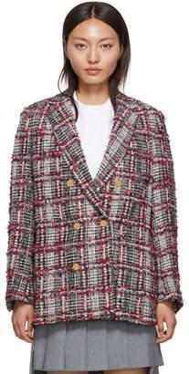 Thom Browne Red Prince of Wales Tweed Sack Blazer