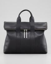 3.1 Phillip Lim 31-Hour Fold-Over Tote Bag, Black