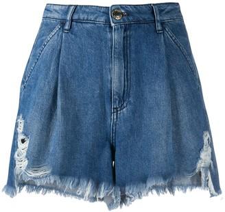 Pinko High-Waisted Pleated Denim Shorts