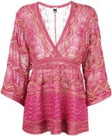 M Missoni V neck blouse - women - Polyamide/Viscose/Metallic Fibre/Cotton - 42