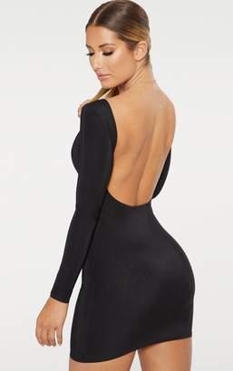 PrettyLittleThing Black Second Skin Slinky Scoop Back Bodycon Dress