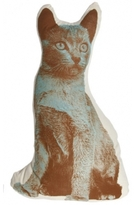 Pin It Fauna Cat Pillow - Brown And Blue On Natural