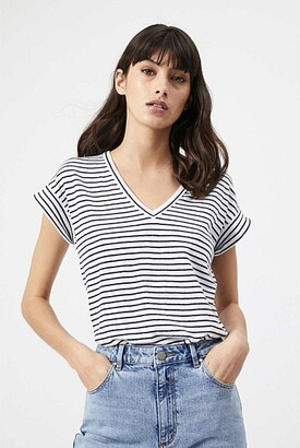 Witchery Stripe V Neck Linen Tee