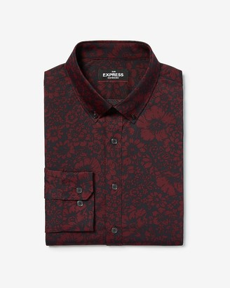 Express Classic Floral Wrinkle-Resistant Performance Dress Shirt