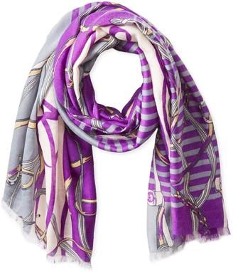 La Fiorentina Women's Stripe and Chain Fringe Scarf