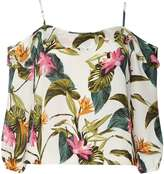 Dorothy Perkins Petite Tropical Print Strappy Cold Shoulder Top