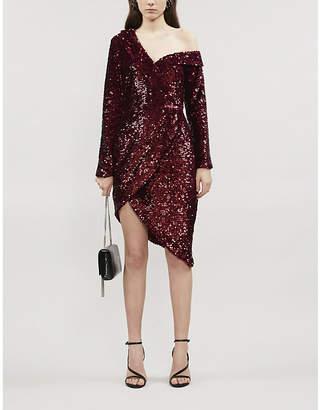 Lavish Alice Asymmetric one-shoulder sequinned mini dress