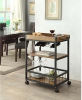 Linon Home Décor Austin Black and Brown Kitchen Cart