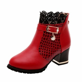 TEELONG Women's Ladies Vintage Leather Short Boots Fashion Solid Color Lace Patchwork Zipper Shoes Red/Black Size 4 5 6 UK