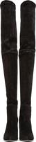 Balmain Black Suede Thigh-High Boots