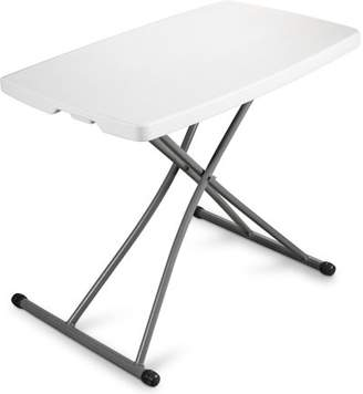 Leoney Personal Folding Table Sturdy And Durable Steel Frame Legs, 4 Adjustable Heights, Quick Fold up Portable Table, Weather and Impact Resistant For Indoor/Outdoor Use, 30x20-Inch, White